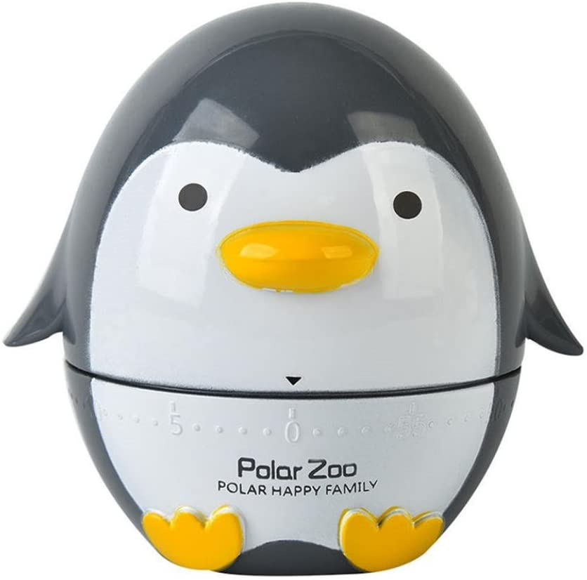 Fullfun Penguin Kitchen Timer - 60 Minute Cooking Mechanical Spining Timer for Home Decoration (B)