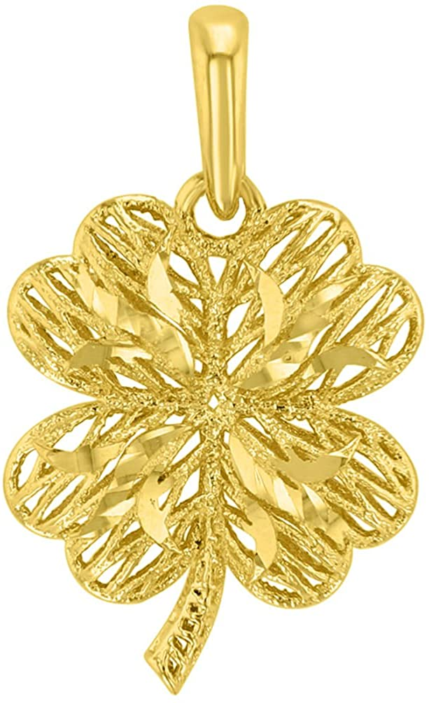 Textured 14k Yellow Gold Puffed 3-D Four Leaf Clover Pendant