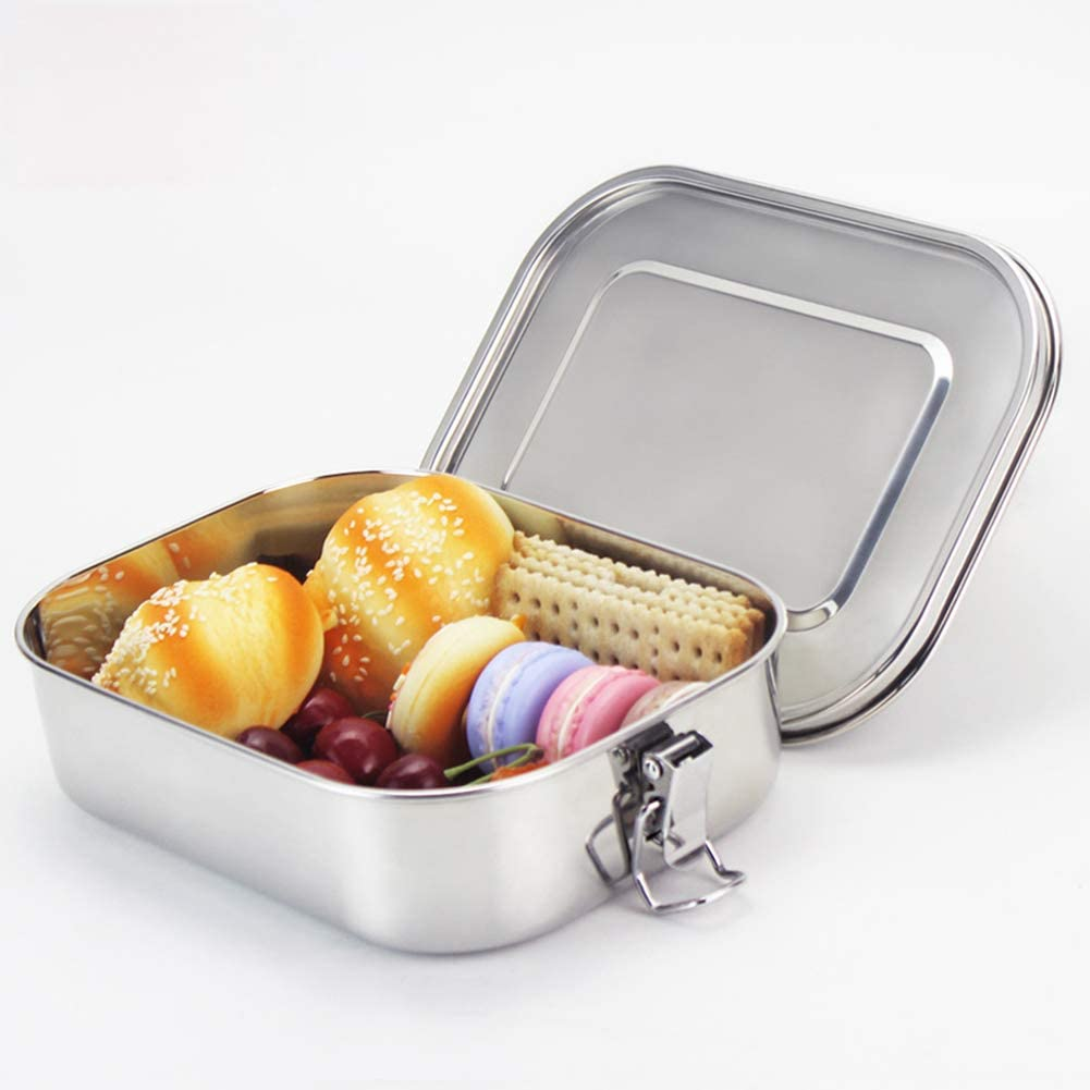redcolourful Square 304 Stainless Steel Preservation Lunch Box with Silicone Sealing Ring Leak-Proof Food Container Bento Box