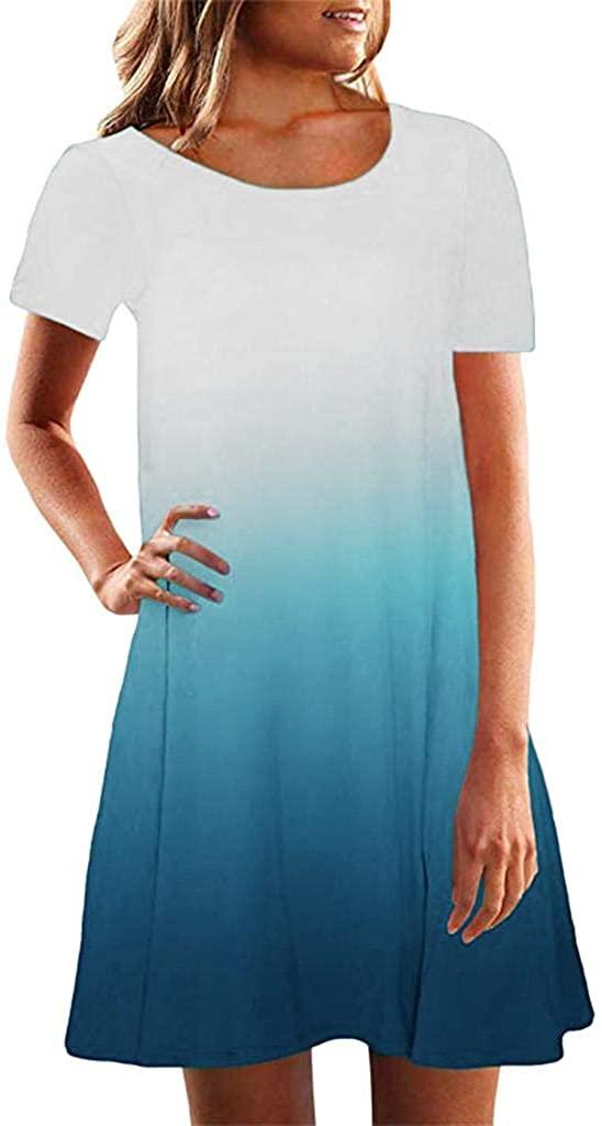 terbklf Halter Dresses for Women Casual Summer Elegant Gradient Sleeveless Dresses for Women Mini Beach Dress Short