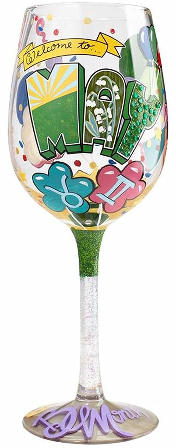 Enesco Designs By Lolita May Birthday Hand-Painted Artisan Wine Glass, 15 oz, Multicolor
