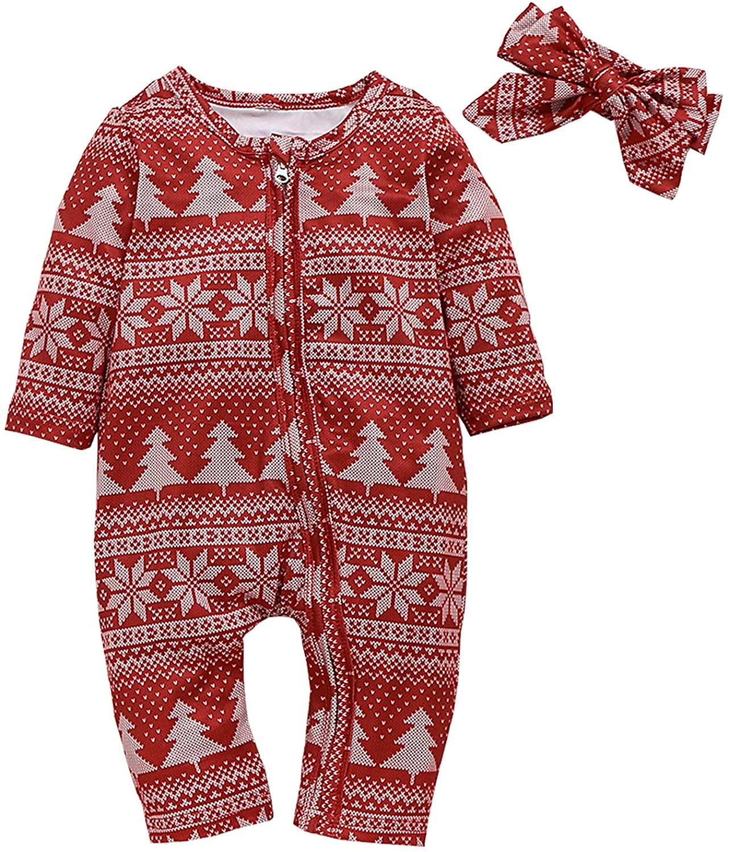 Christmas Kids Newborn Baby Boys Girls Xmas Romper Outfit Deer Bodysuit Jumpsuit Onesies Winter Clothes Set (Red, 0-3 Months)