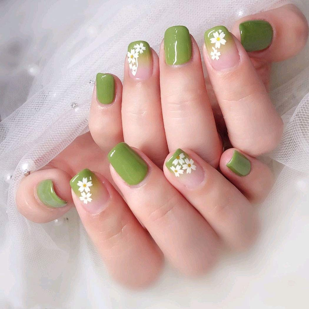 Abien Square Fake Nails Green Short Full Cover Press on Nails Glossy Cute Artificial False Nail Tips for Women and Girls 24PCS