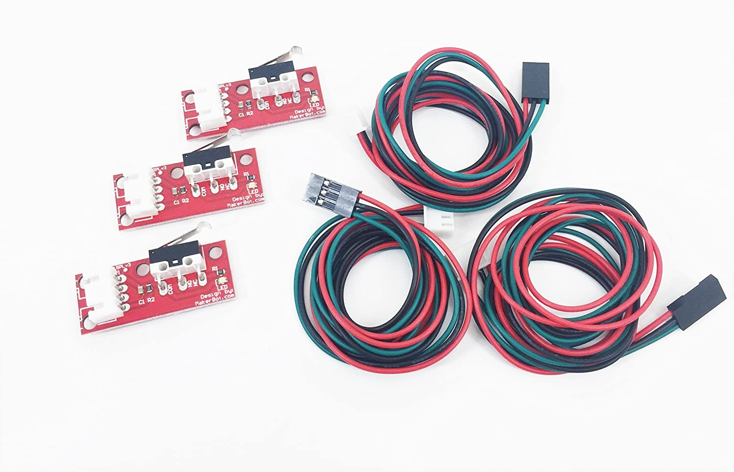 [REPRAPGURU] 3 PCS Mechanical End Stop w/Wires for Reprap 3D Printer and CNC Machine, Compatible with Ramps 1.4
