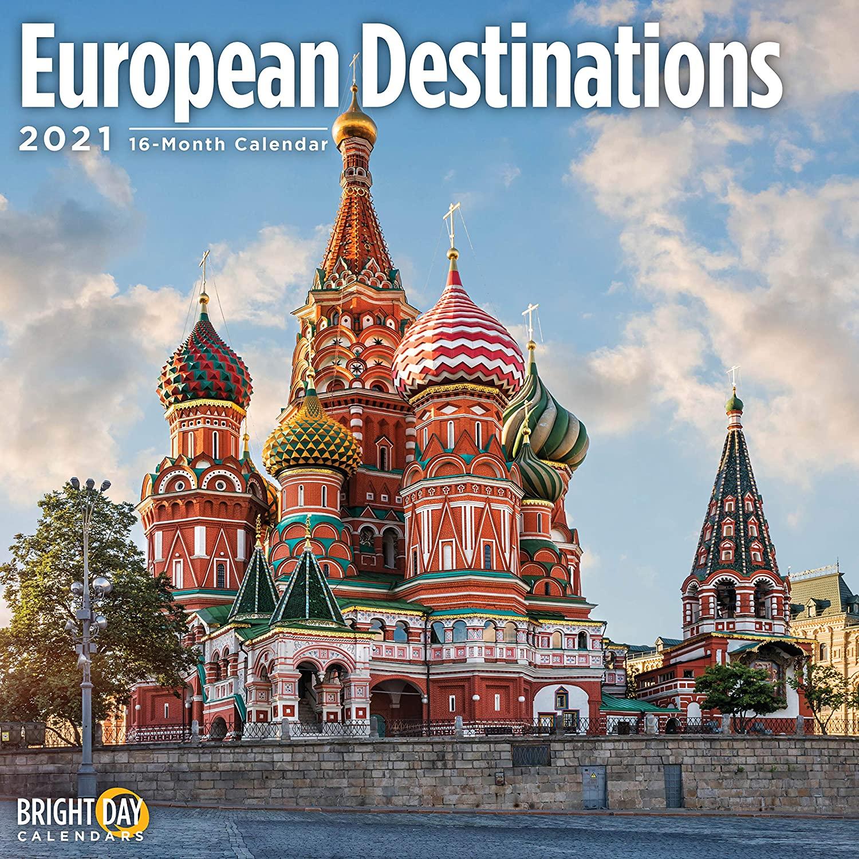 2021 European Destinations Wall Calendar by Bright Day, 12 x 12 Inch, Beautiful Scenic Landscape Travel
