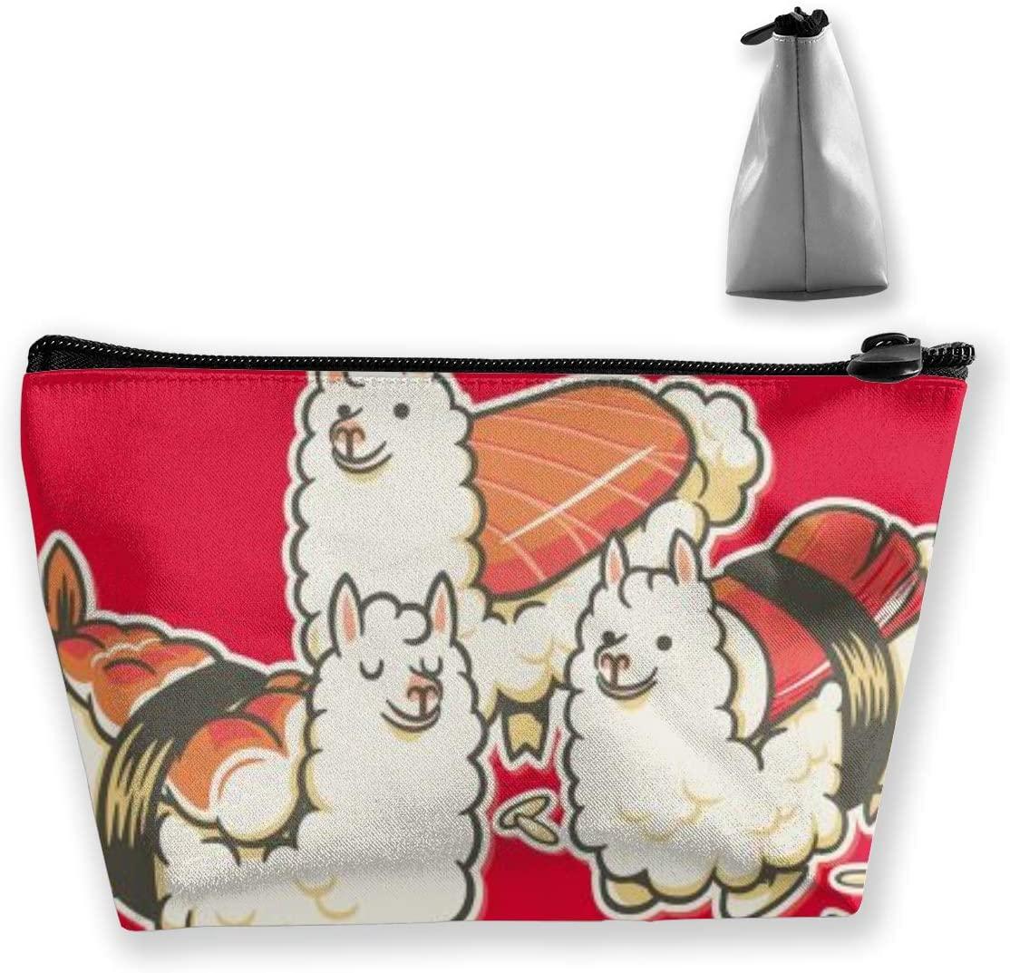 Trapezoidal Storage Bag Alpaca Sushi Double Print Handbag Coin Purse Cosmetic Pouch Wallet Pencil Holder
