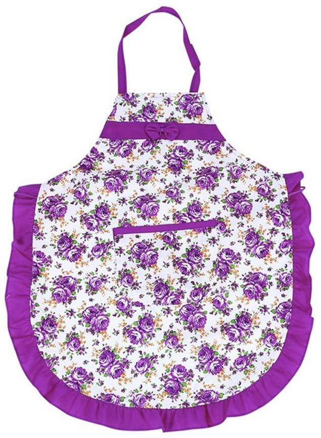 Colorido Women Floral Print Bowknot Kitchen Restaurant Cooking Pocket Dress Bib Apron size Medium (Purple)