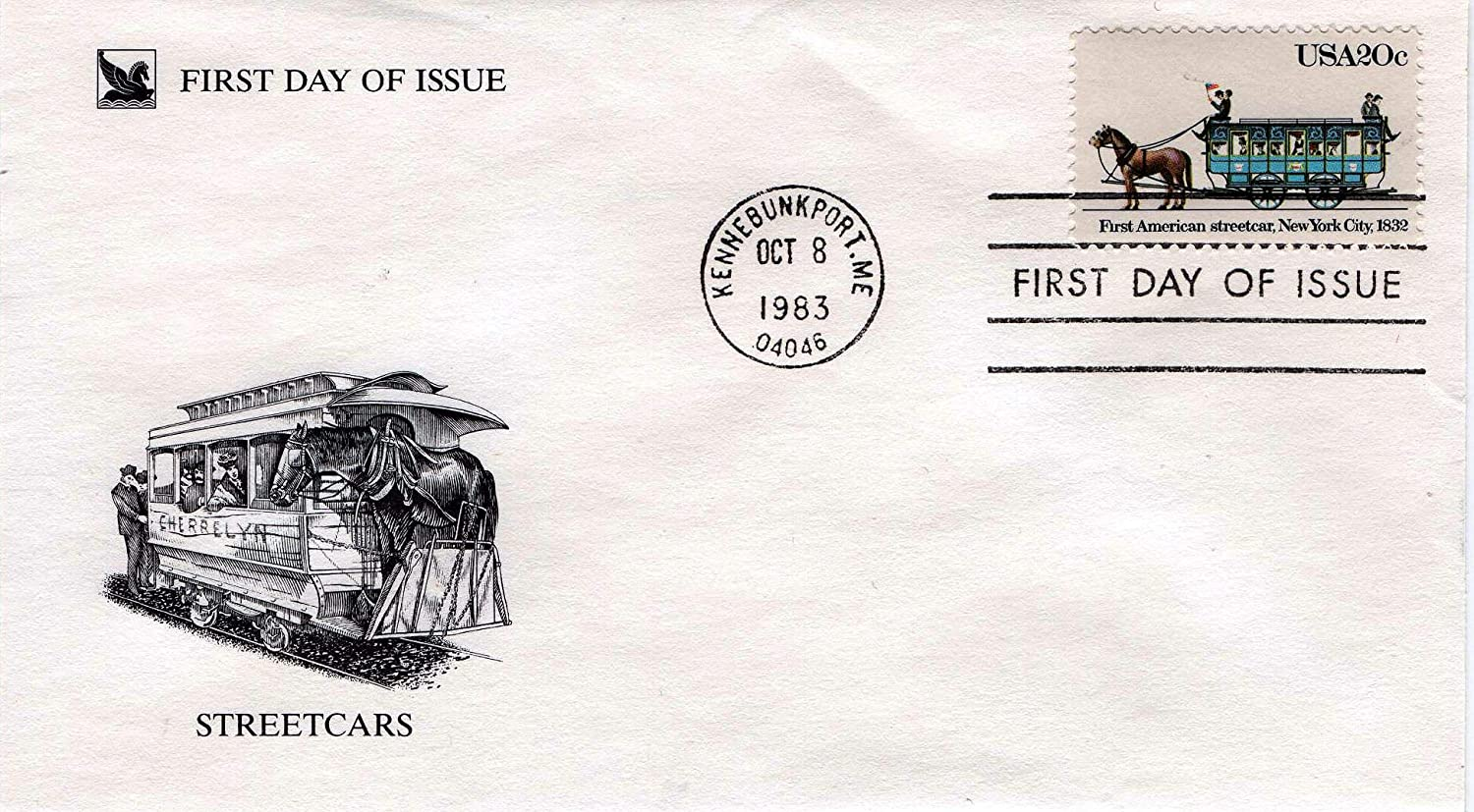 Lot #39 Set of 4 US First-Day Covers Historic Streetcars Series 1983
