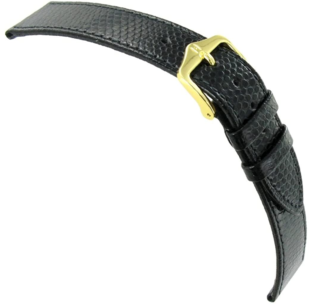 20mm Hirsch Rainbow Black Genuine Calfskin Leather Stitched Flat Watch Band Reg