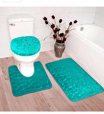 3pc Bath Rug Set Memory Foam Non-Slip Bathroom Rug Contour, Mat and Toilet Lid Cover Turquoise New