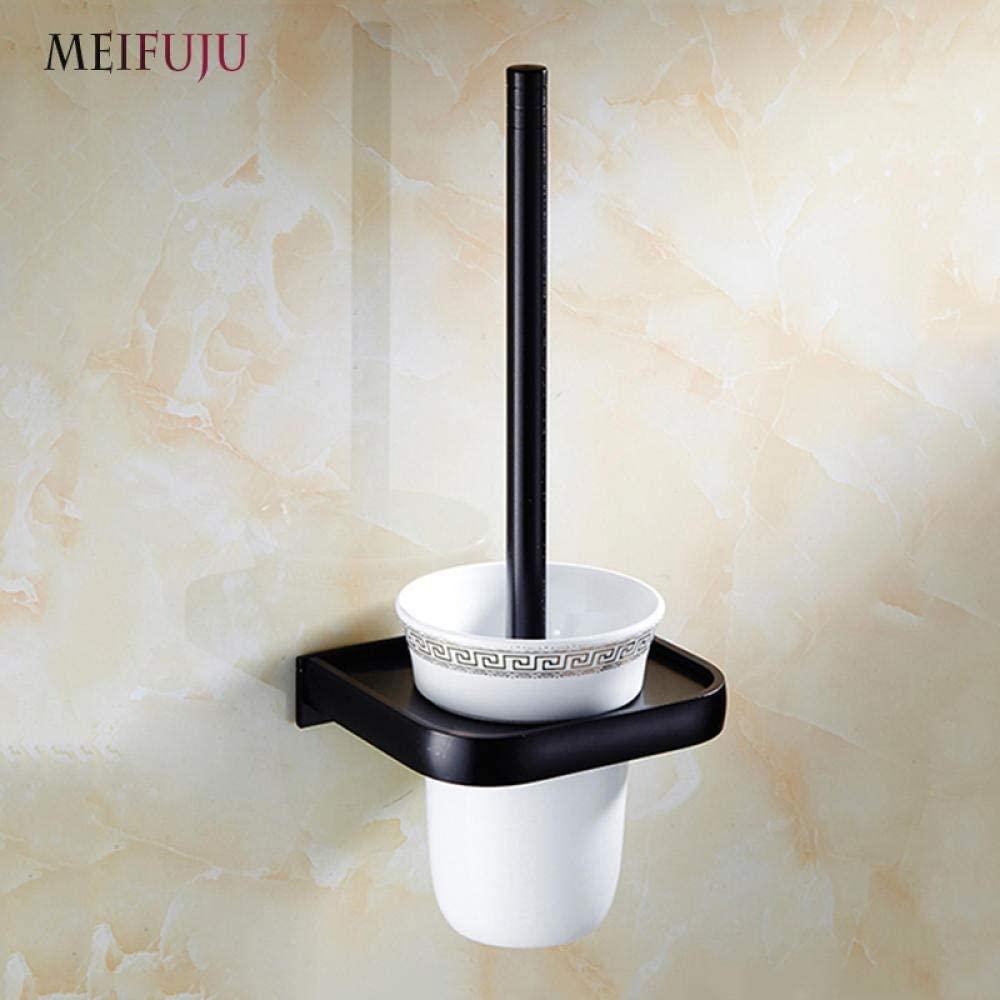 BDD Toilet Brushes,Black Aluminum Bathroom Wall Mounted Toilet Brush Holder Black Ceramic Toilet Brush Holder Bathroom Accessories