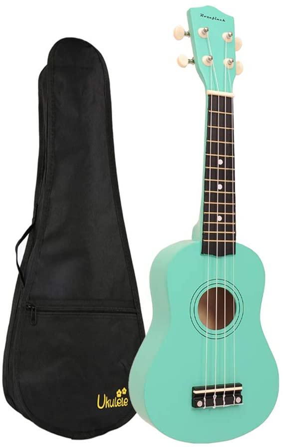 Soprano Ukulele 21 inch Rosefinch Wooden Ukelele Hawaii Mini Guitar with Bag for Adult Beginner Kids(Mint Green)