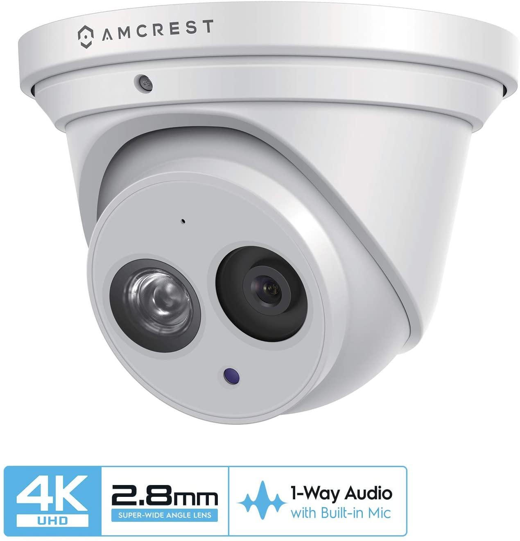 Amcrest UltraHD 4K (8MP) Outdoor Security IP Turret PoE Camera, 3840x2160, 164ft NightVision, 2.8mm Lens, IP67 Weatherproof, MicroSD Recording (128GB), White (IP8M-T2499EW)