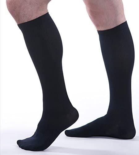 Allegro Men's 15-20 mmHg Essential 103 Ribbed Support Socks (Navy) Large
