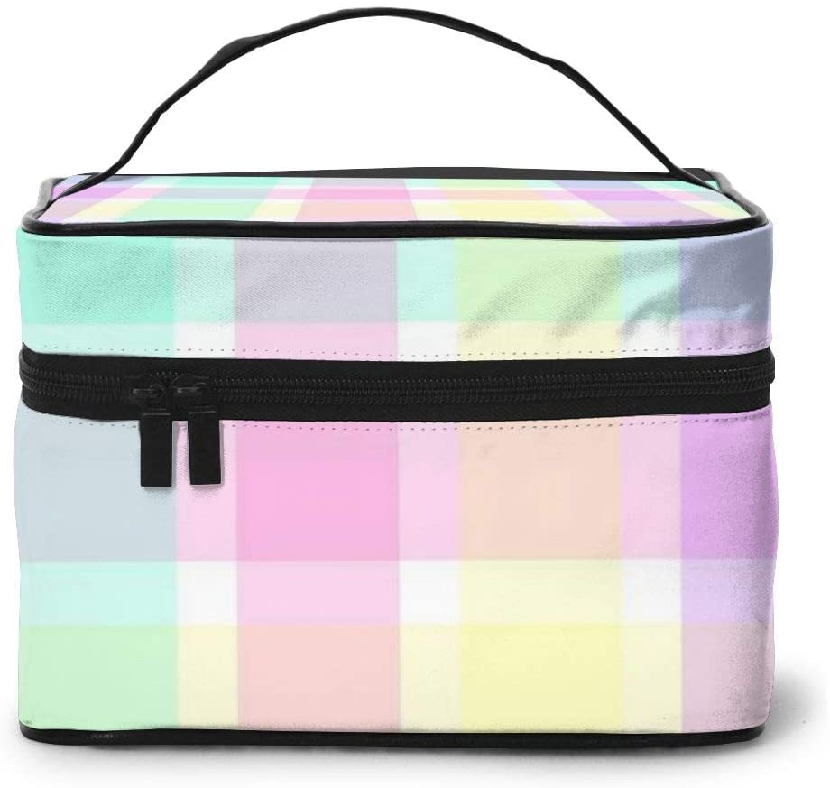Large Cometic Travel Bag,Pastel Plaid Portable Travel Toiletry Bag Cosmetic Make Up Organizer For Women And Girls