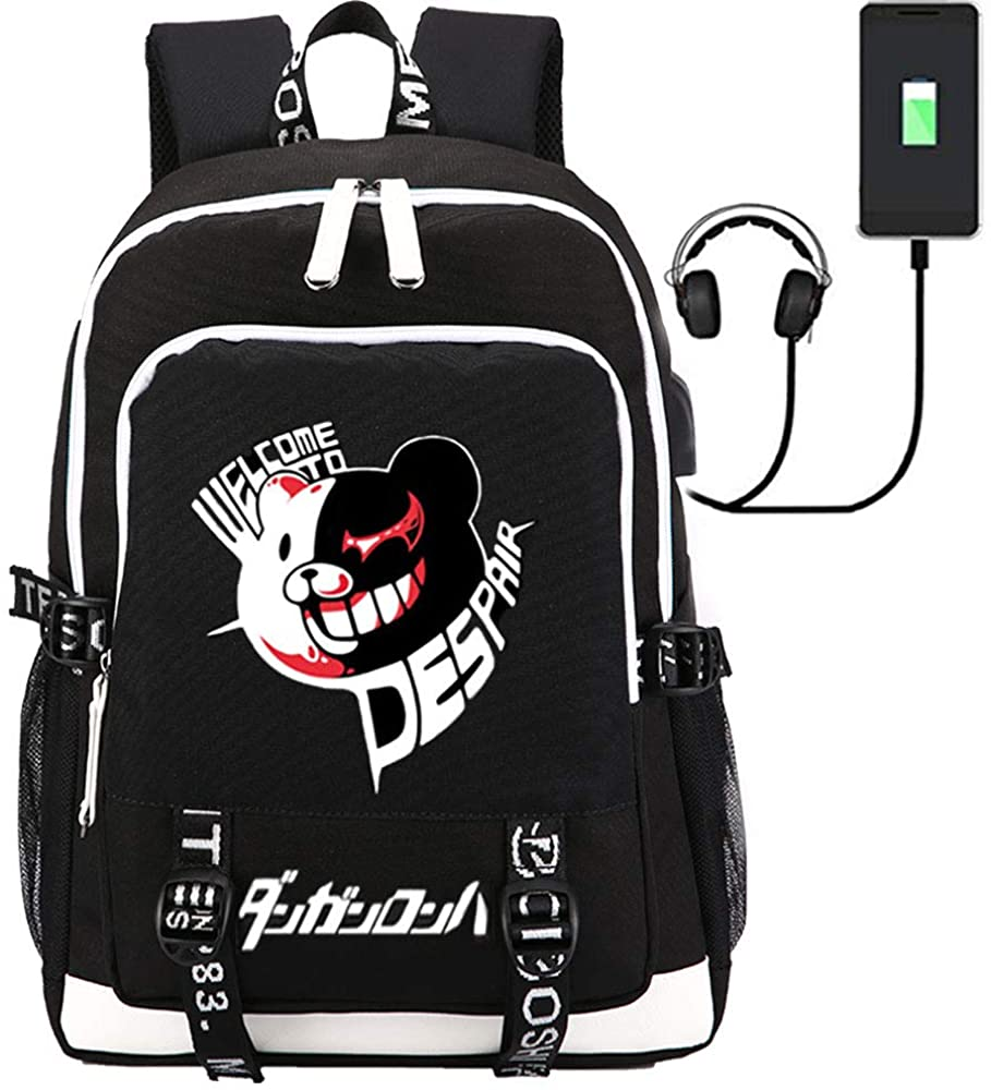 MOYOOE Anime Danganronpa Monokuma Backpack Cosplay Large Capacity USB Charge Laptop Bag Mochila 2
