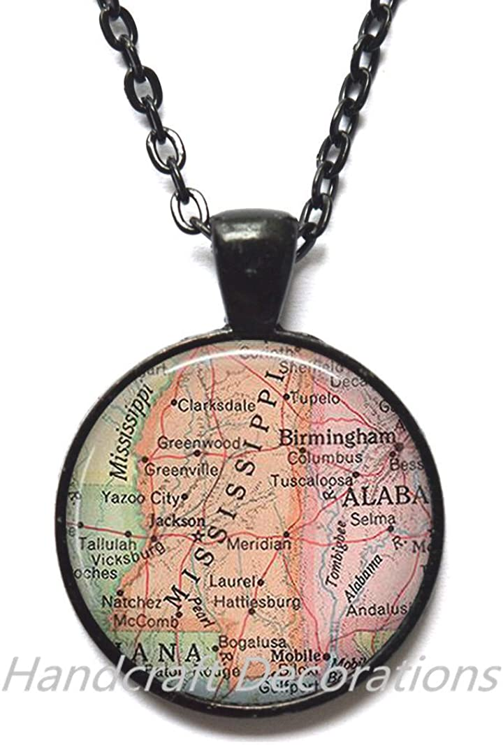 Charming Necklace Mississippi map Pendant, Mississippi Necklace, Mississippi map Necklace, Mississippi Pendant, map jewelry,A0007