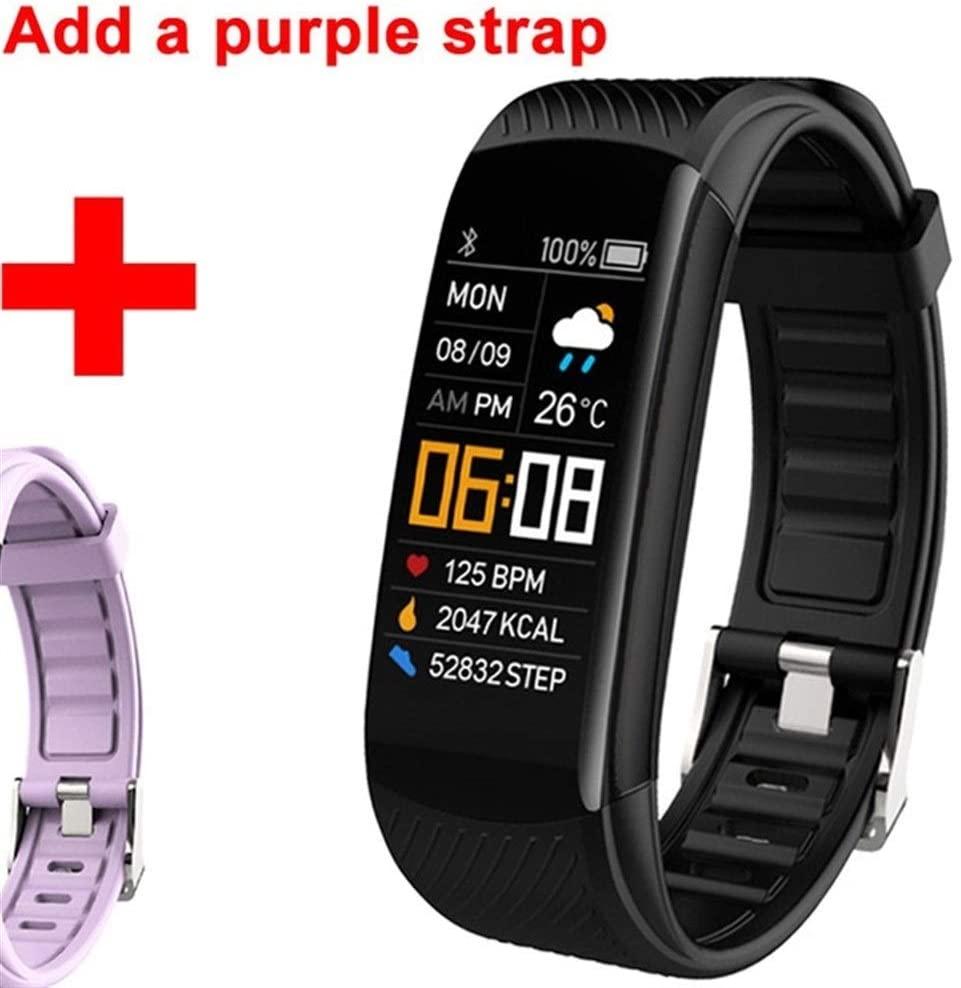 Logo ZWSSZZXY Smart Bracelet Watch Blood Pressure Monitor Fitness Tracker Bracelet Smart Watch Heart Rate Monitor Smart Band Watch Men Women (Color : Purple)
