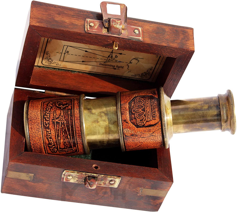 MAH Pocket Monocular - Brass Children Telescope - Round Spyglass with Wooden Box. C-3086