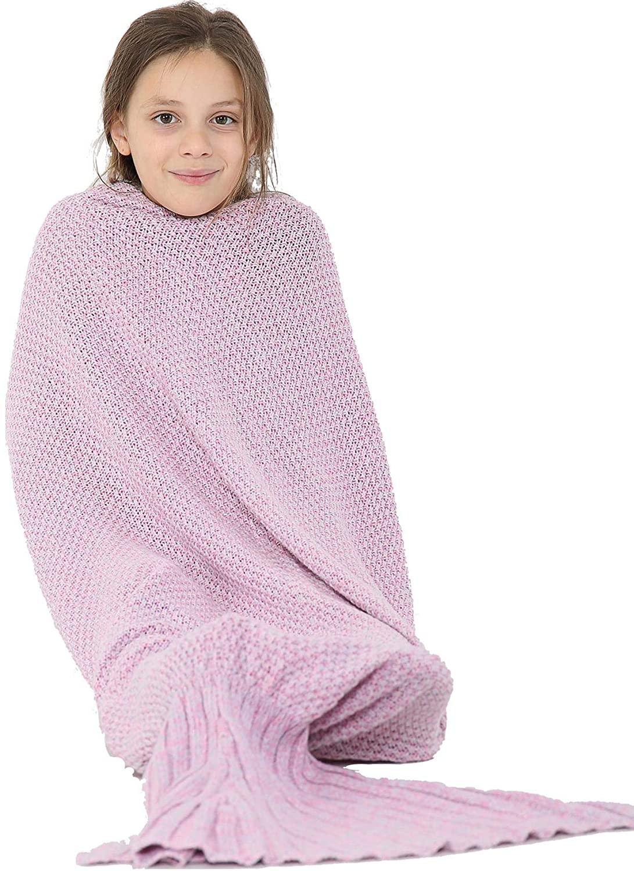Kids Blanket Mermaid Tail Soft Fleece Blankets Snuggle-in Sleeping Bag One Size