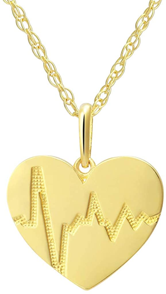 SOLIDGOLD - 14K Real Gold Heartbeat in Heart Pendant Necklace With an Adjustable Chain