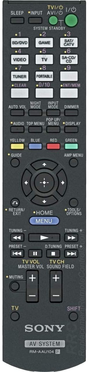 Original Sony RM-AAU104 3D AV Audio Video Receiver Remote Control for Model STR-DH520 (Part No. 1-489-343-11)