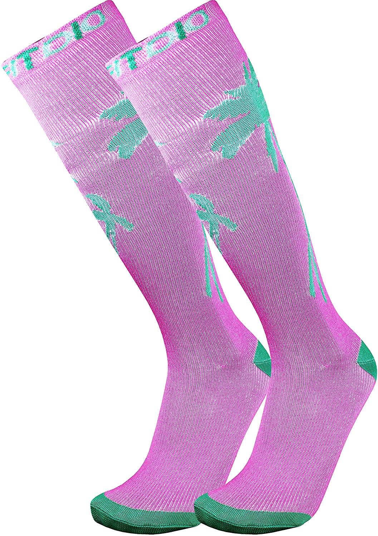 Tropical Palm Tree Graduated 15-20mmHG Knee High Compression Socks For Men & Women, Purple/Green