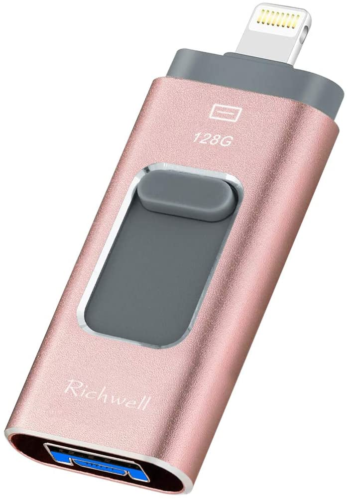 USB Flash Drive 128G Thumb Drive for iPhone Photo Stick 3in1 USB 3.0 Memory iPad Flash Drive USB Stick External Storage Richwell Password/Touch ID Protected/Android and Computer(Pink128G-XT)