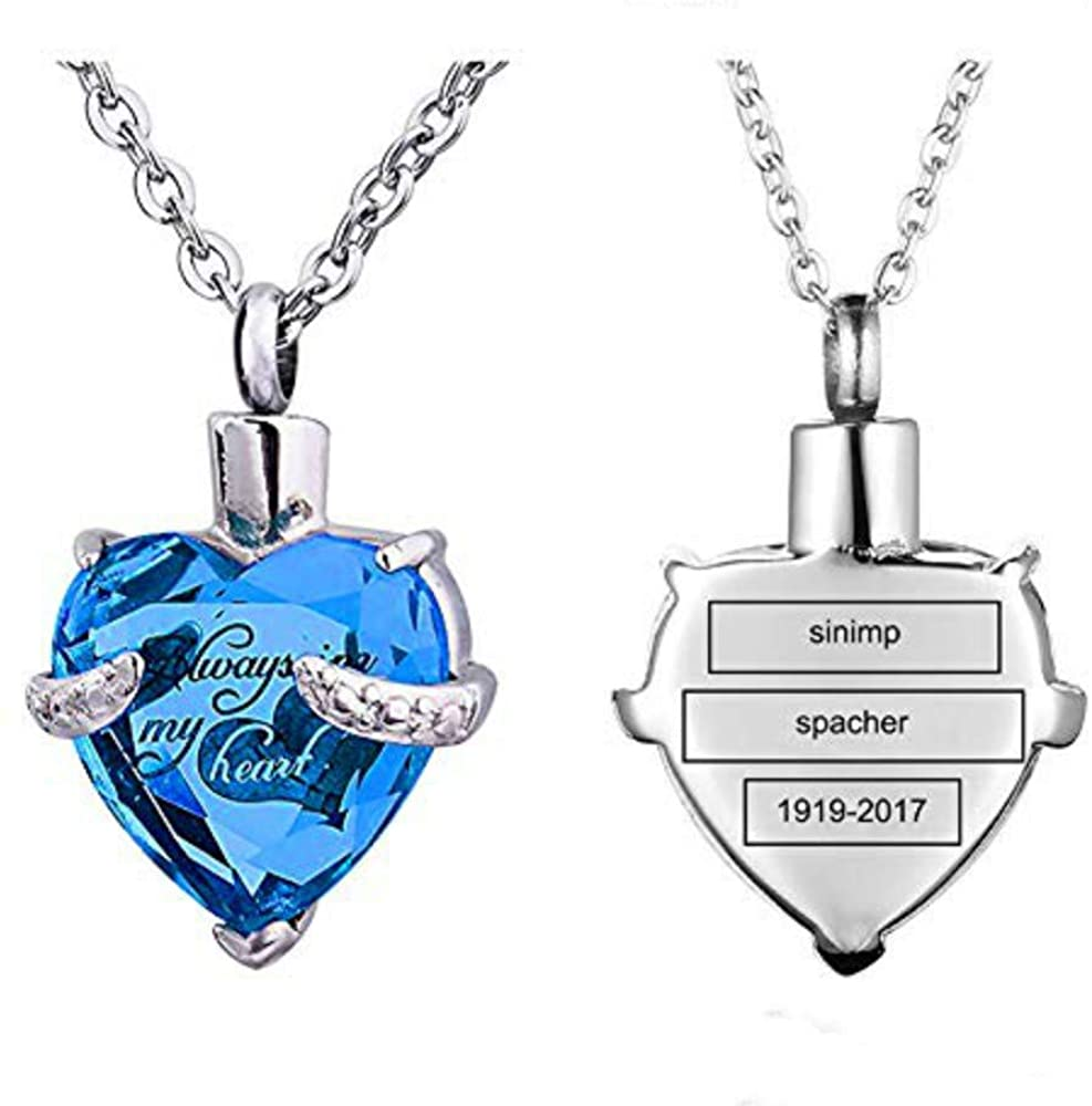 STARTONECO Always in My Heart 12 Birthstone Cremation Jewelry Urn Necklace Heart Memorial Keepsake Pendant Ash Holder Cremation Jewelry for Ashes