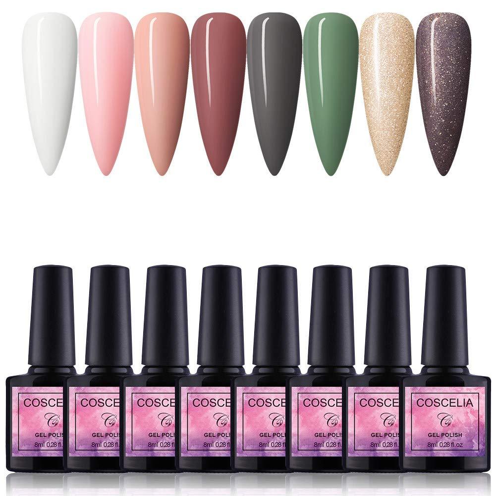 Fashion Zone 8 Colors Gel Nail Polish Set, Soak Off UV LED Gel Nail Polish Kit Manicure Salon Gift Kit 8ml (Gold)