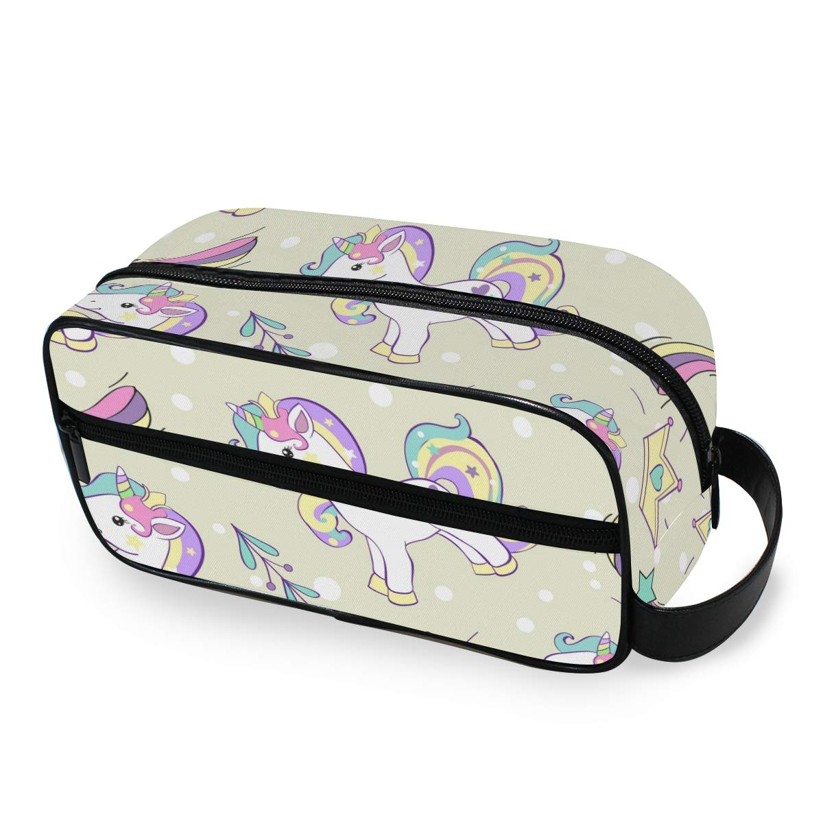 SIMAAC Cosmetic Bag Waterproof Portable Makeup Bag Unicorn Horse Rainbow Crown Toiletry Bag Multifunction Travel Case Organizer for Cosmetics Makeup Brushes Toiletry Jewelry Digital Accessories