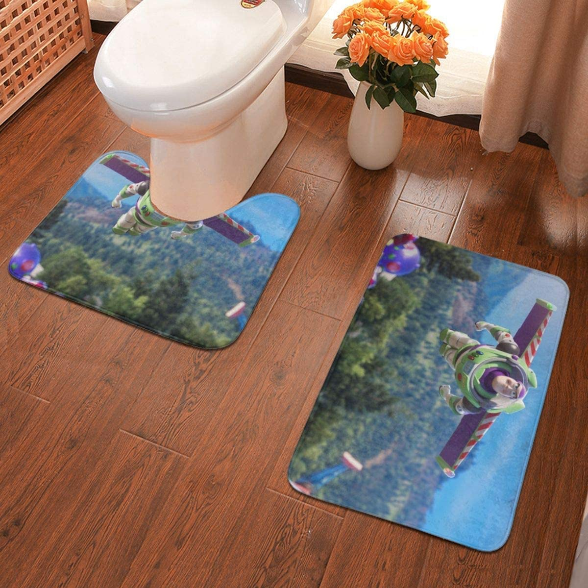 Boweike Cartoon Toy Story Buzz Lightyear Bathroom Antiskid Pad Non-Slip Bath Carpet Floor Mat Rug 2 Sets -Floor Mat+U-Shaped Pad, Toilet Washable Blanket Mats for Bathroom Home Shower