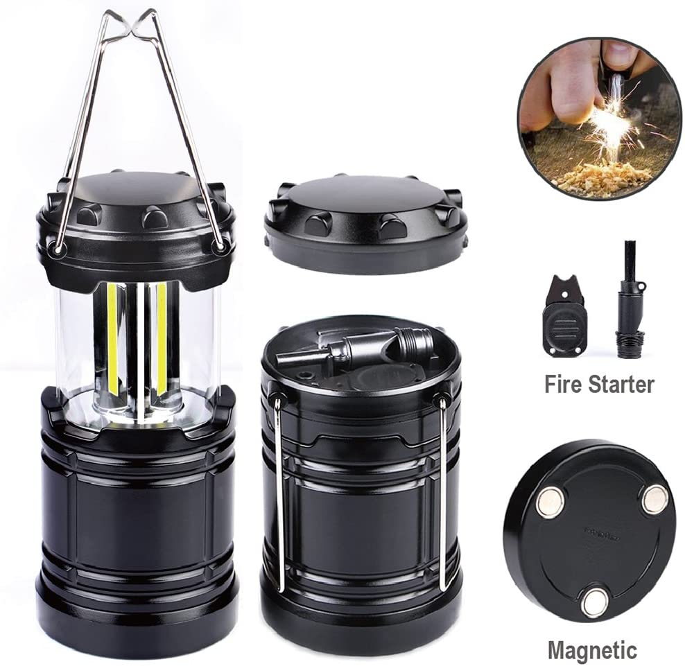 LED Camping Lantern Light Collapsible - Moobibear 300lm COB Technology Battery Powered Portable Lantern with Fire Starter, Magnetic Base for Night, Fishing, Hiking, Emergencies