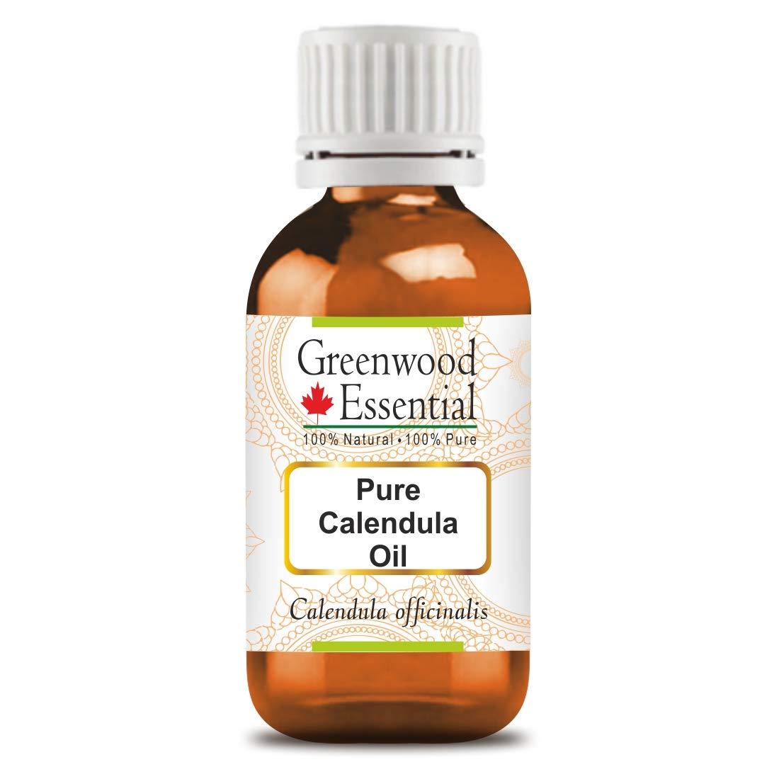 Greenwood Essential Pure Calendula Oil (Calendula officinalis) Premium Therapeutic Grade for Hair, Skin 100ml (3.38 oz)