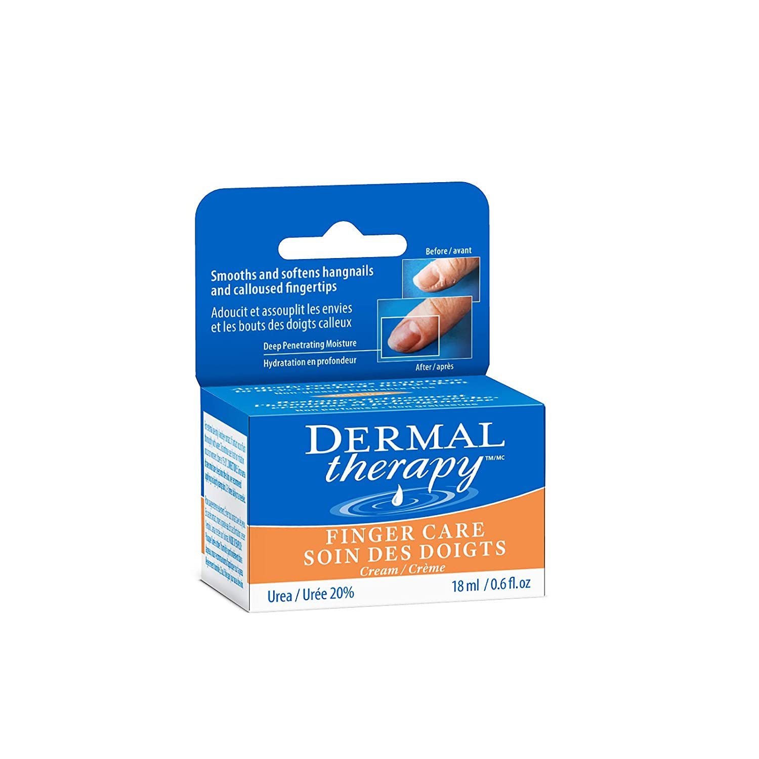 Dermal Therapy Finger Care Cream – Hydrating Treatment Repairs Skin to Heal Dry, Cracked Fingertips Resulting from Frequently Washed/Cleaned Hands | 20% Urea and 6% Alpha Hydroxy Acids | 0.6 fl. oz