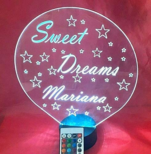 Sweet Dreams Stars Good Night Light Up Lamp LED Personalized Free Engraved Children's Loving Table Lamp, Our Newest Feature - It's Wow, with Remote, 16 Colors, Dimmer, Free Engraved, Great Gift