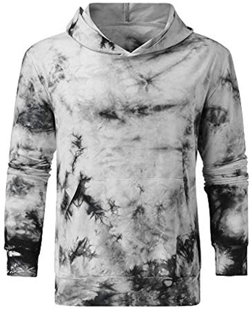 WINJUD Mens Hoodies Tie Dyeing Gradient Print PulloverTop Pocket Casual HoodedSweatshirt