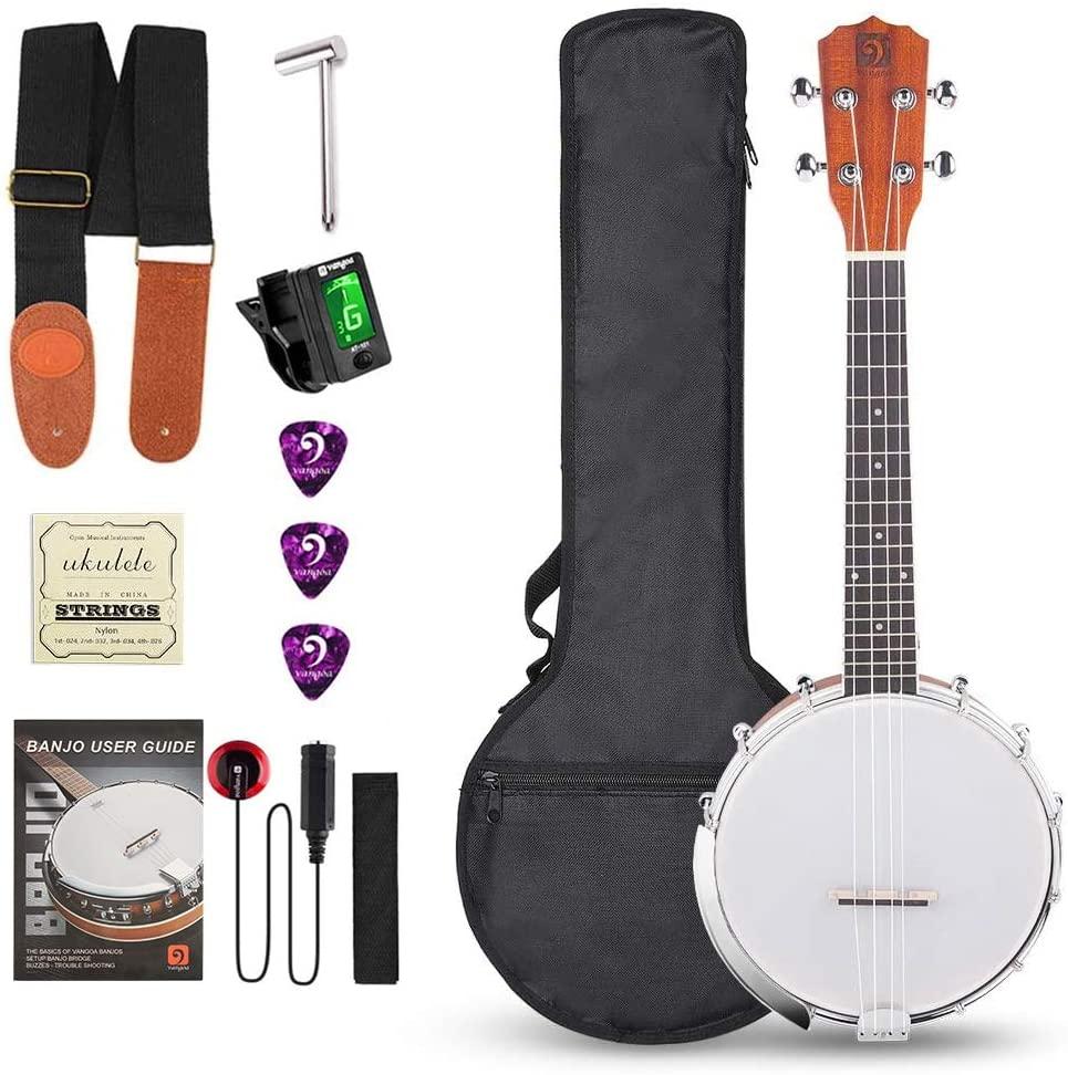 Vangoa Banjo Uke, 4 String Banjolele with Armrest, Concert 23 Inch Sapele Banjo Ukulele with Beginner Kit