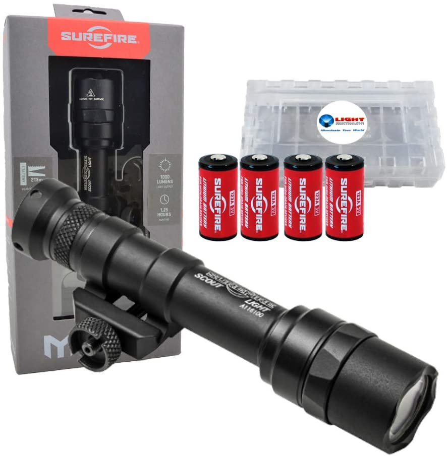 SureFire M600U Weapon Light, Ultra Scout Light 1000 Lumens LED, Black Bundle with 2 Extra CR123 Batteries and a Lightjunction Battery Box