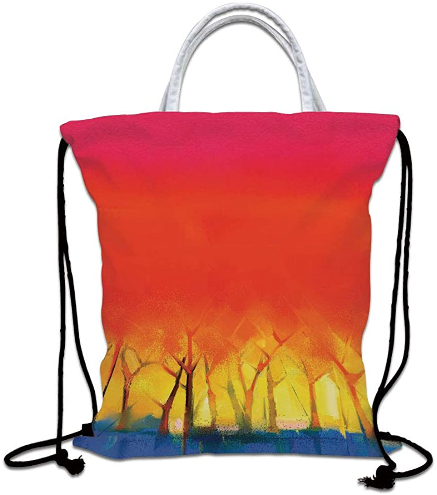 Fantasy Decor Drawstring Backpack Bag,Abstract Colorful Tree Range in Various Tones Watercolor Style Paintbrush Art Lightweight Sports Gym Bag for Women Men Children,Red Yellow