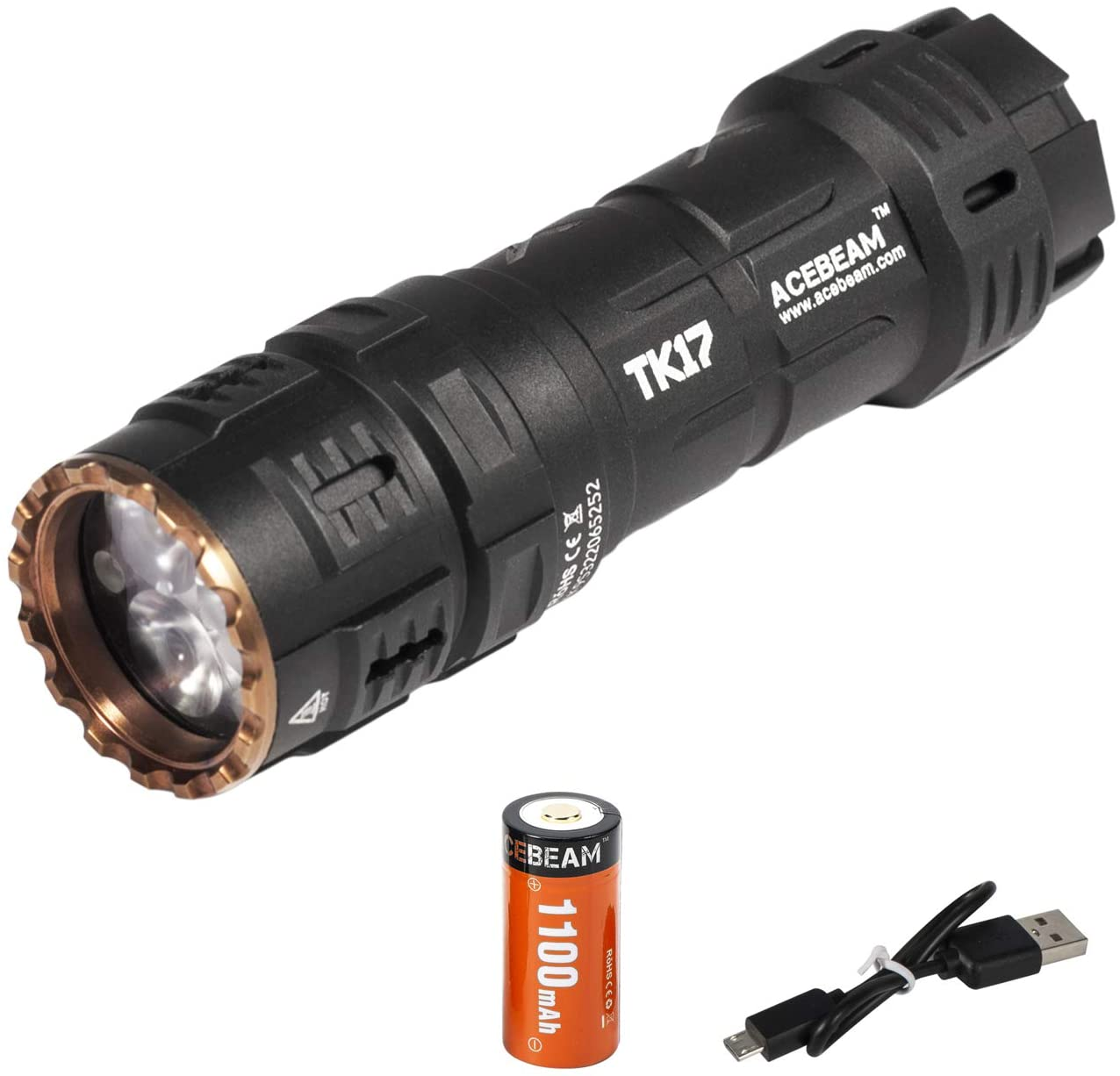 ACEBEAM TK17NIA Compact and Exquisite EDC Flashlight, NICHIA 219C CRI LED Povides more Softer Beam for daily life, Outdoor activities, Photography, etc, Equipped with 18350 USB Rechargeable Battery