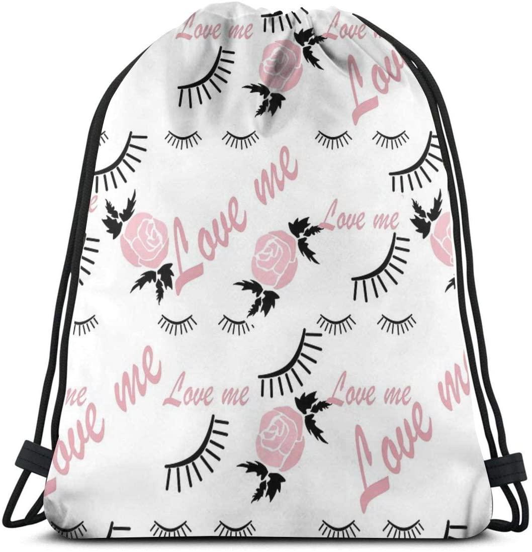 Drawstring Backpack Bag,Love Me Gym Bag Portable Sackpack Storage Bag for Camping Hiking Swimming Shopping Hiking Travel Beach