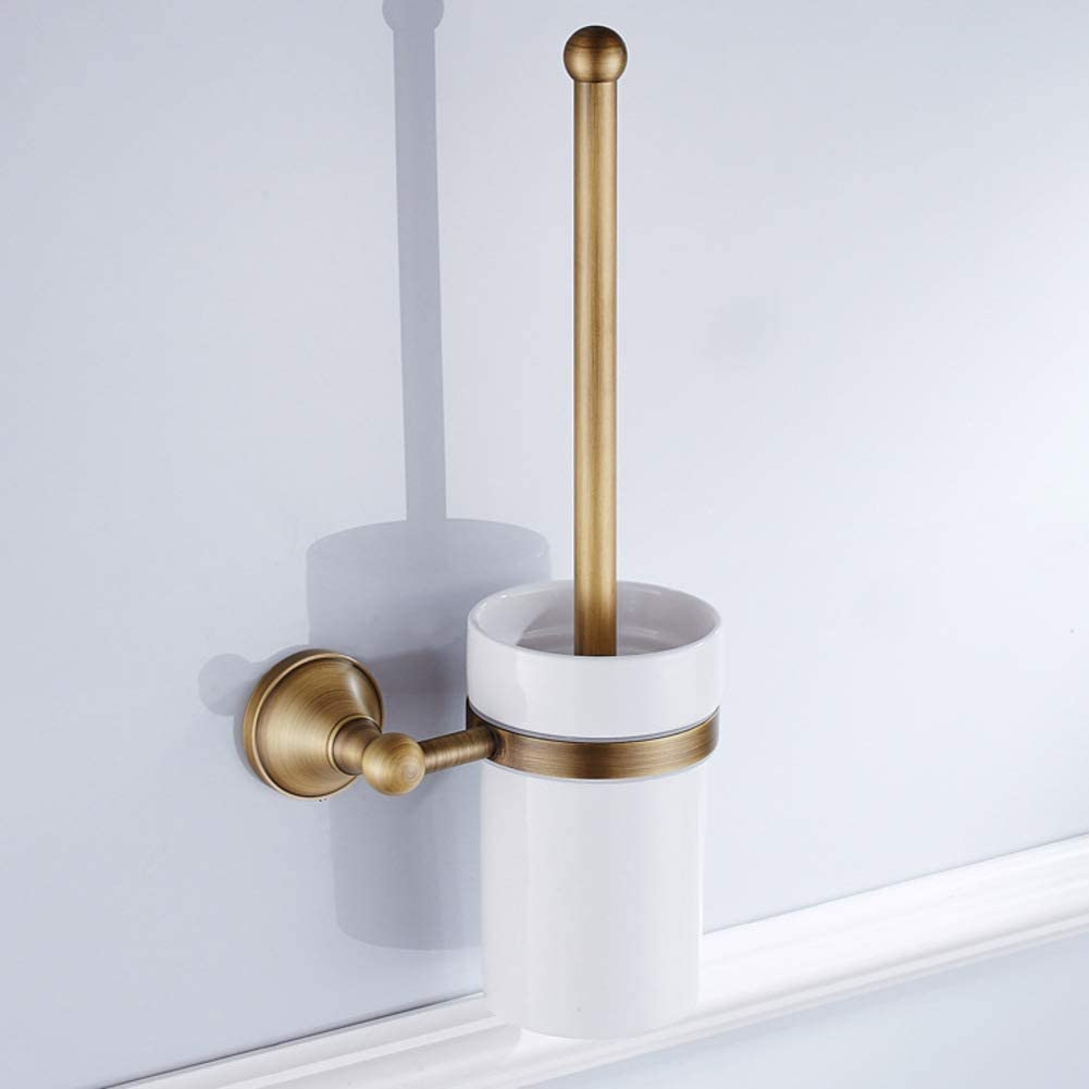 Wall Mount Toilet Bowl Brush And Holder,ceramics Toilet Brush Cup Toilet Bowl Cleaning Brush Set,brass Material-a