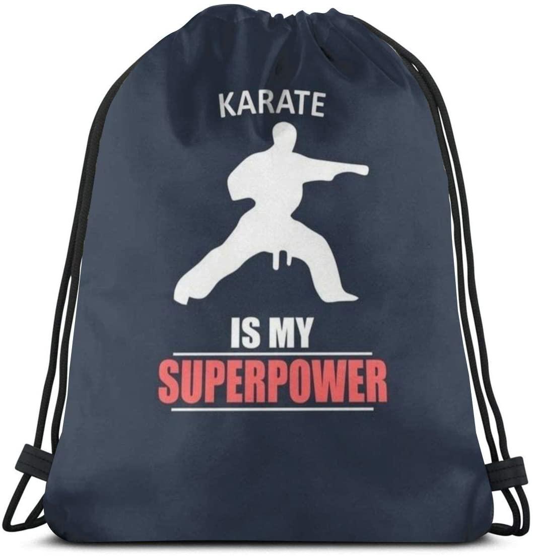 Backpack Drawstring Bags Cinch Sack String Bag Karate Sport Font Simple Style Sackpack For Beach Sport Gym Travel Yoga Camping Shopping School Hiking Men Women