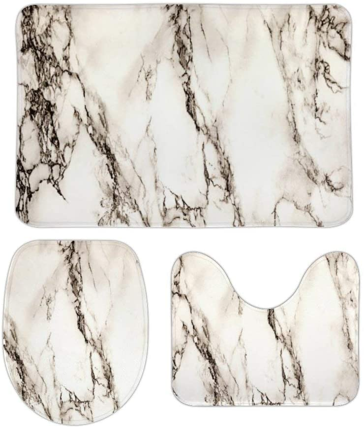 Brown Marble Look 3 Piece Bathroom Rug Set Bath Mat, U Shaped Contour Mat, Lid Cover Non-Slip with Rubber Backing, Perfect Carpet Mats for Tub, Shower, Home Decor 16