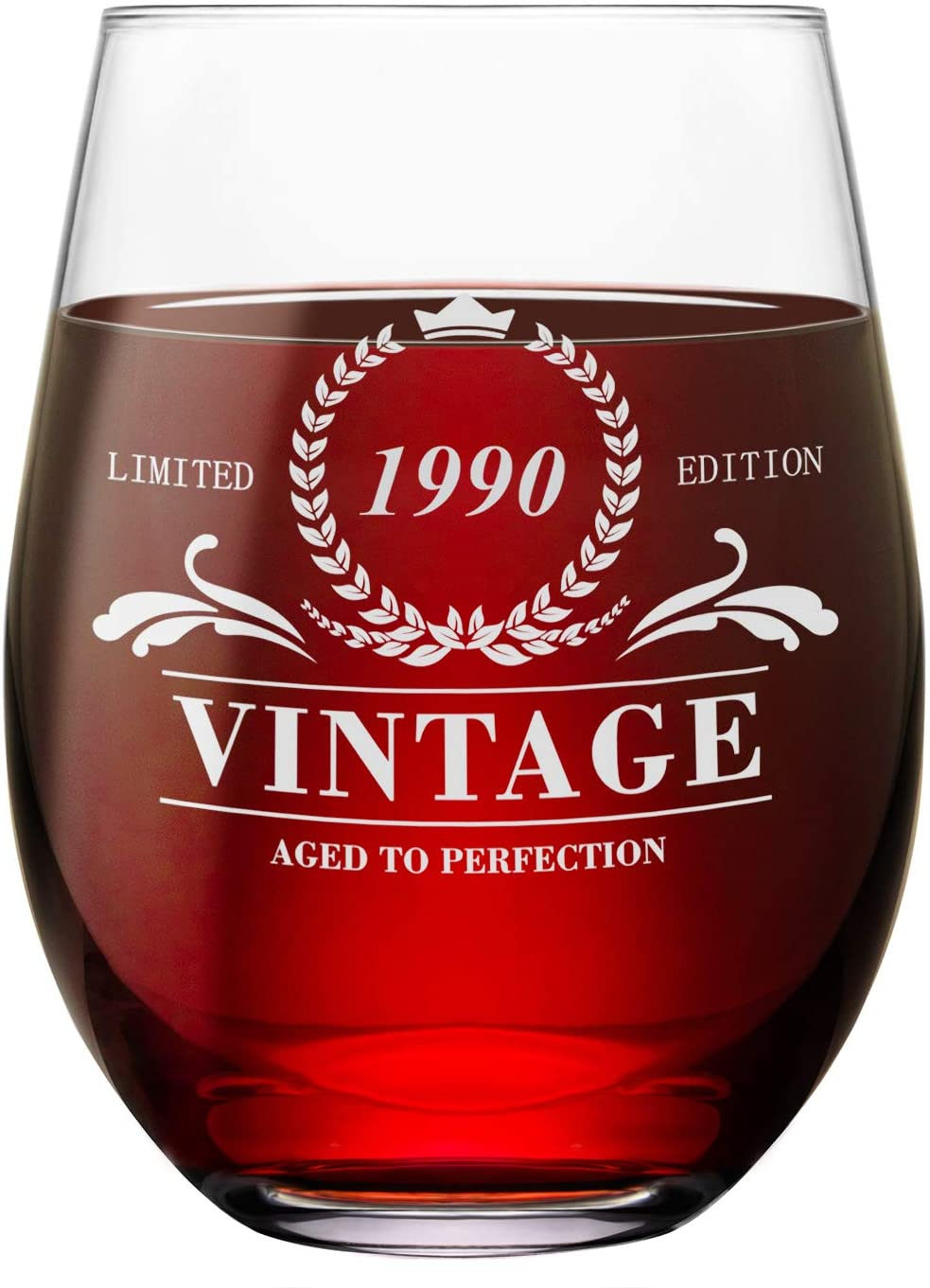 30th Birthday Gifts for Women & Men Stemless Wine Glass Vintage 1990 Gift Ideas Anniversary Wine Glass 30 Years Old Funny Gift for Mom, Dad, Wife, Husband 16oz