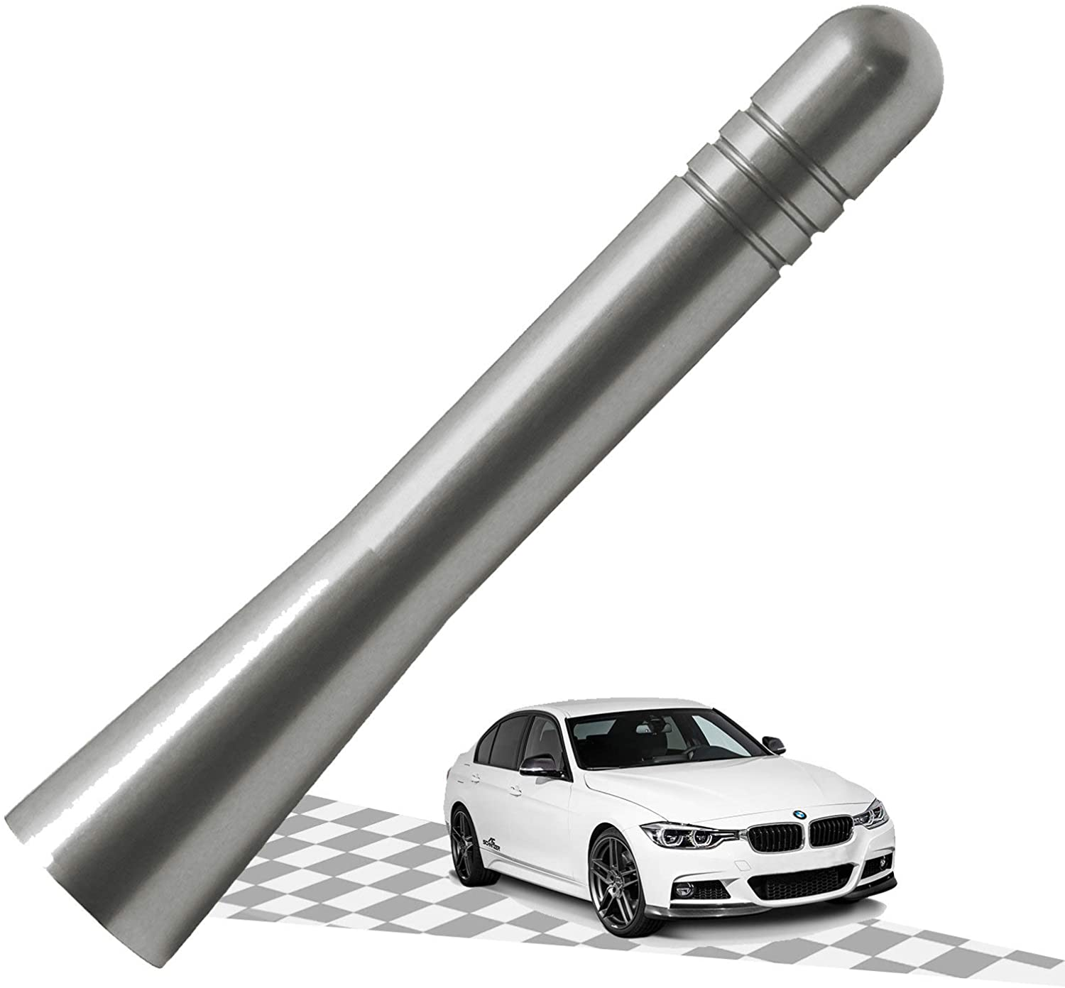 Elitezip Antenna Compatible with BMW Z3 and Z4 1995-2016 | Optimized AM/FM Reception with Tough Material | 3.2 Inches - Silver Titanium