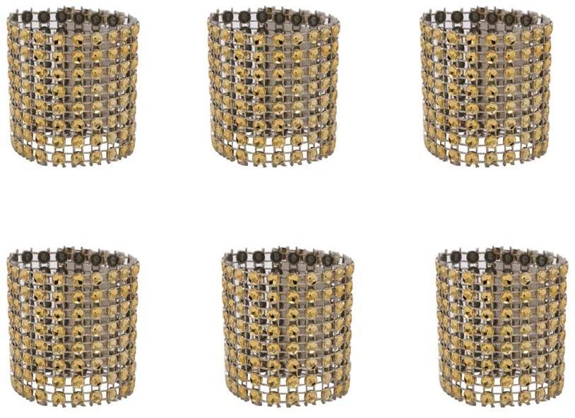 V-House 120 Pcs Eight Rows Rhinestone Napkin Rings Napkin Mesh Wedding Adornment, Napkin Holder (Champagne)