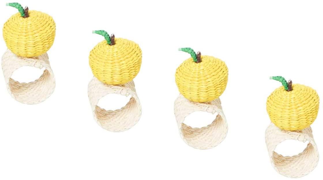 Kiskadee Design Lemon Napkin Rings Handwoven from Iraca Natural Fibers in Sandona Colombia - Set of 4 Lemons