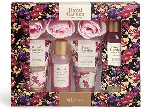 IDC Institute Royal Garden 5 Pcs Box - Contains: Shower Gel 140ml, Bath Bubble 60ml, Body Lotion 50ml, Body Scrub 50ml, 3 x 3g Flower Soap